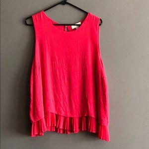 Forever 21 sleeveless blouse with gathered hem EUC